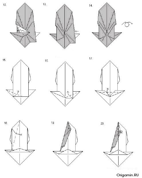 схема оригами аиста
