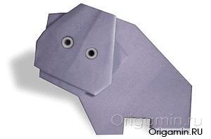 оригами бегемот из бумаги