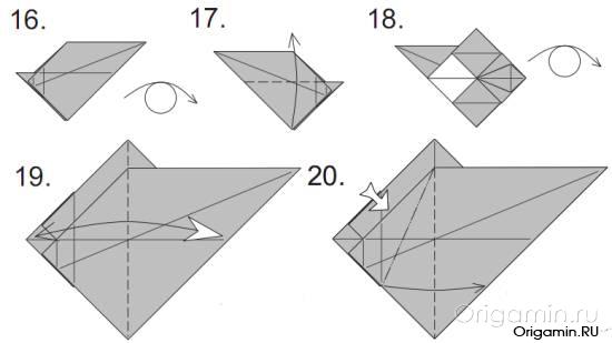 Пошагово, в картинках, рассмотрим процесс изготовление модели динозавра из бумаги (оригами).