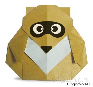 оригами енот из бумаги