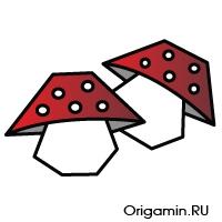 оригами гриб из бумаги