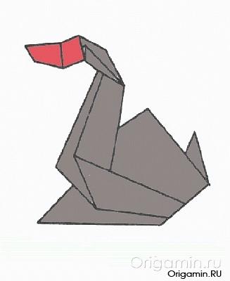 оригами гусь из бумаги
