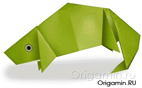 оригами хамелеон из бумаги