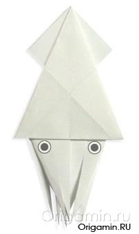 оригами кальмар из бумаги