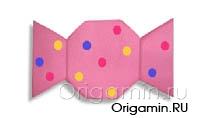 оригами конфета из бумаги