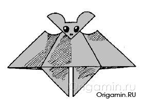 оригами летучая мышь из бумаги