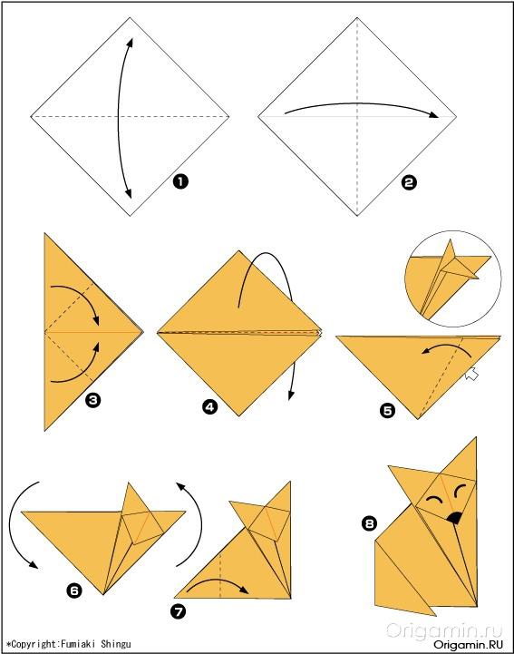 Животные из оригами для начинающих