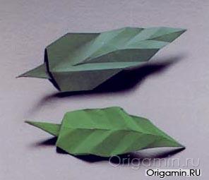 оригами листья из бумаги