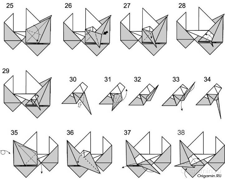 Как из бумаги сделать мотоцикл схема 111