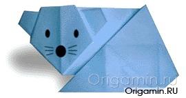 оригами мышь из бумаги