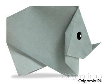 оригами носорог из бумаги