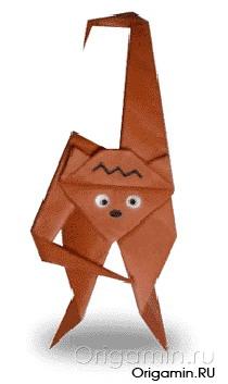 оригами обезьяна из бумаги