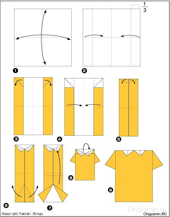Оригами как сделать рубашку из бумаги с галстуком