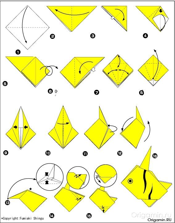 Оригами из бумаги - желтая рыба.