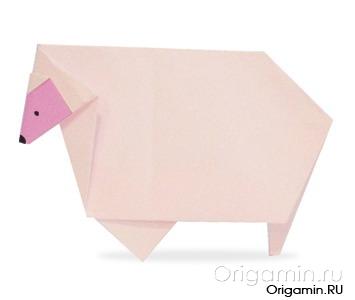 оригами овца из бумаги