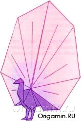 оригами павлин из бумаги