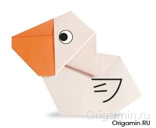 оригами пеликан из бумаги