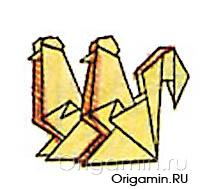 оригами петух из бумаги