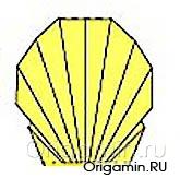оригами ракушка из бумаги