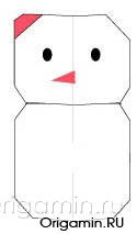 оригами снеговик из бумаги