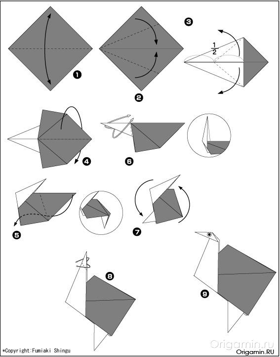 страус из бумаги