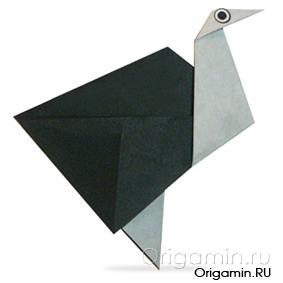 оригами страус из бумаги