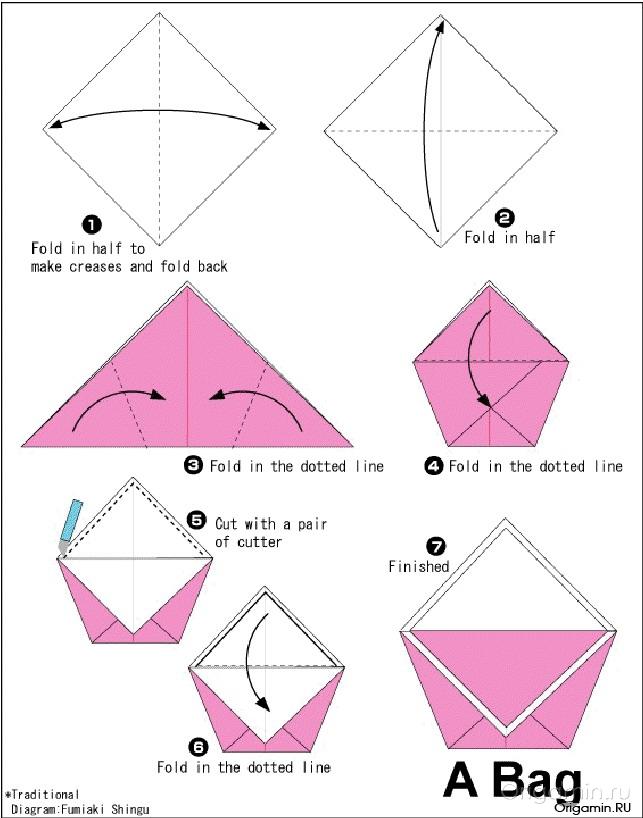 Как сделать из упаковочной бумаги сумочку.  Мастер класс - Santa3.