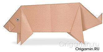 оригами свинья из бумаги