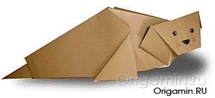 оригами тюлень из бумаги