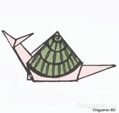 оригами улитка из бумаги