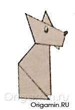 оригами волк из бумаги