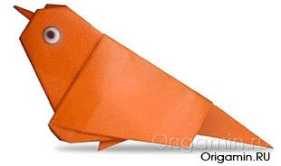 оригами воробей из бумаги