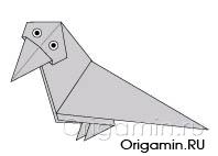 оригами ворона из бумаги