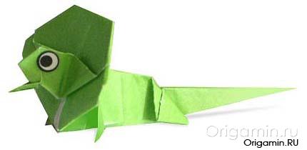 оригами ящерица из бумаги