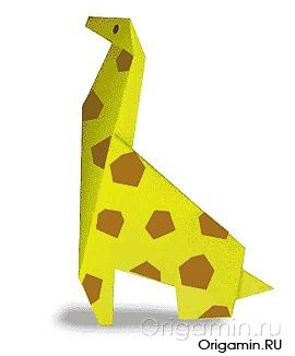 оригами жираф из бумаги