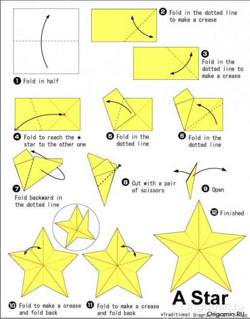 Как сделать объемную звездочку из бумаги поэтапно