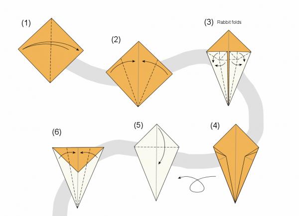 Оригами из бумаги для начинающих из треугольников