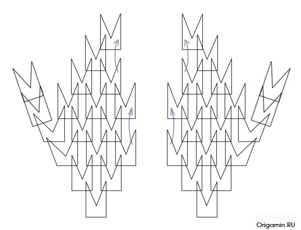 схема оригами модульных свадебных лебедей