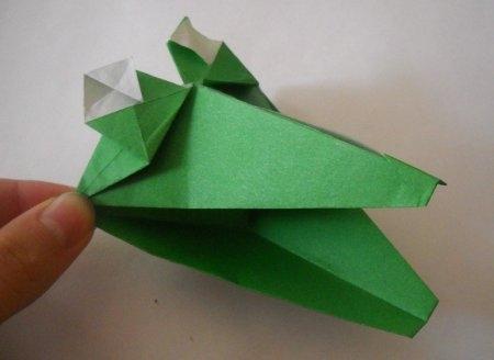 Оригами крокодил с работающей пастью